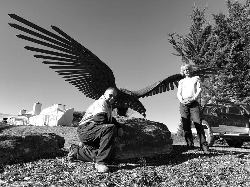 Dan Kelly Sculpture - Rustic NZ Eagle Installation