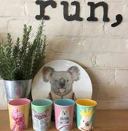 Fun melamine Australian Sweets mugs set