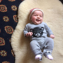 Our favourite baby girl modelling our H U X romper! #macandmorgan #castlemaine #huxbaby #babyrange