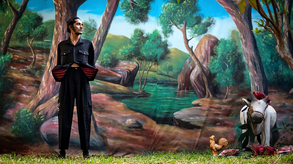 'DR.DO' BLACK HAND EMBROIDERED SAFARI SUIT
