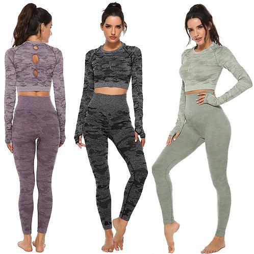 Women 2pcs Seamless Yoga Set Fitness Sports Suits Woman Push Up