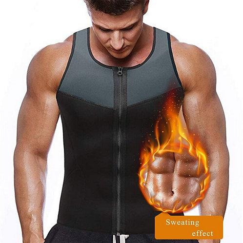 Men's Sport Shirt Slimming Zipper Neoprene Sweat Shirt Gym Fitness