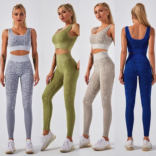 Seamless Snakeskin Print Yoga Set Gym Clothing Fashion Tank Crop Top