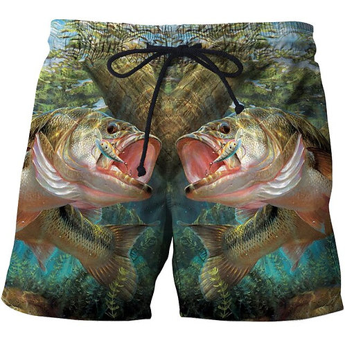 Fashion Summer Men Beach Shorts 3D Print Fish Loose