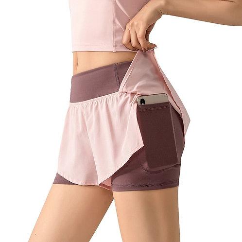 Women 2 In 1 Running Shorts Elastic Waist Running Tight Yoga Short