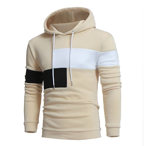 Hoodies Men Hip Hop Top Contrast Color Casual Pullover