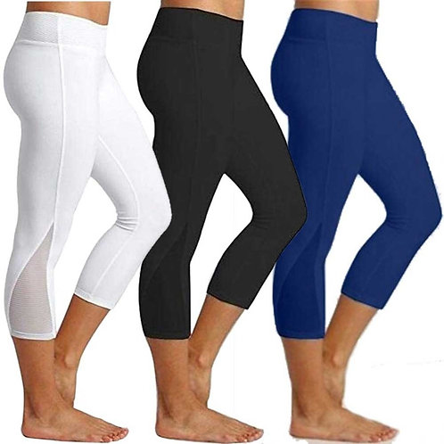 3/4 Women Calf-Length Yoga Leggings High Waist Capris Non See-Through Mesh