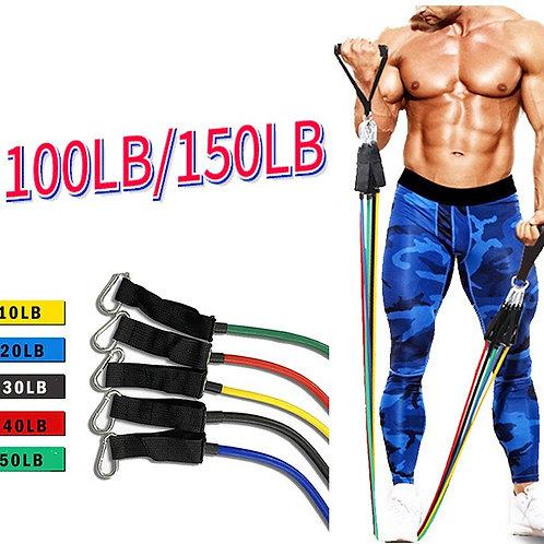 11PCS Resistance Bands Latex 100LB Pilates Yoga CrossFit