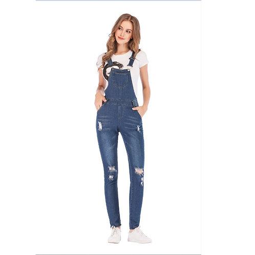 Plus Size Denim Overalls Women Fashion Slim Jumpsuit Jeans Bib Full
