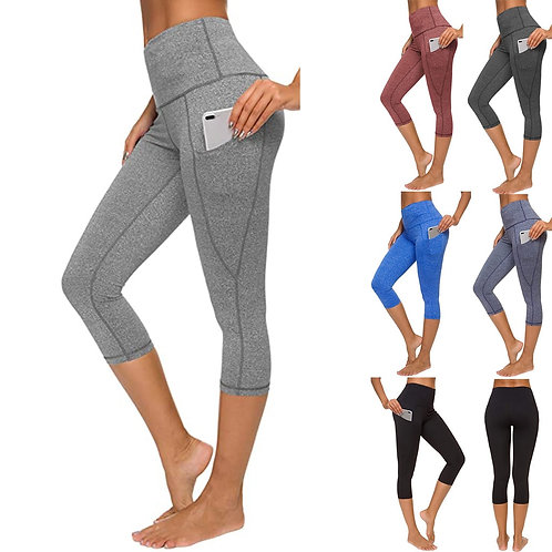 Women's Tight Elastic Quick Dry Solid Color Pocket Capris Seamless
