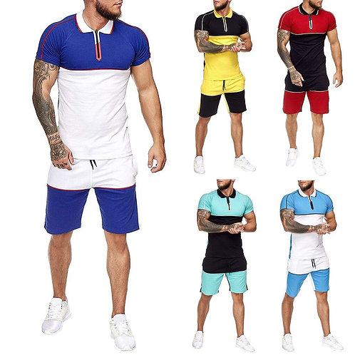 Men's summer casual short sleeved T shirt shorts suit Set