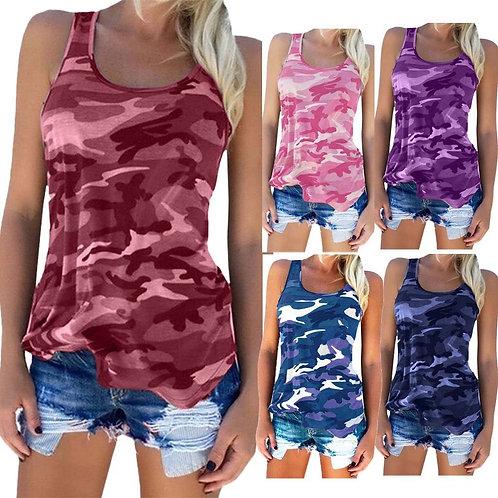 Tops Fashion Women Camouflage Printed Sleeveless O Neck Tank Top