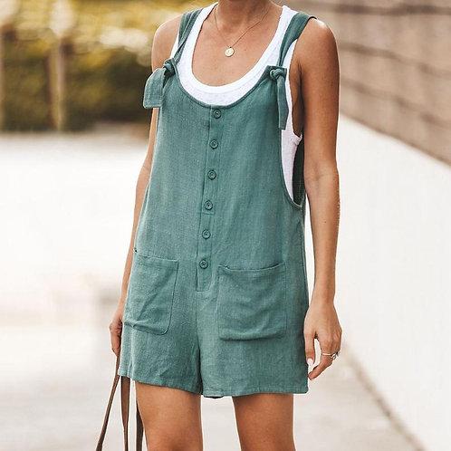 Women Sleeveless Suspender Buttons Pocket Jumpsuits