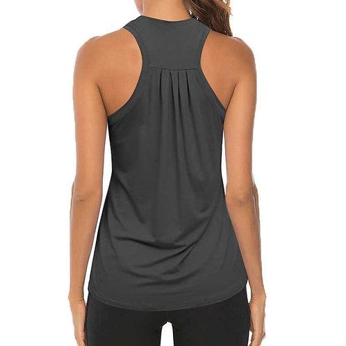 Women Workout Yoga Shirts Sexy Sleeveless Pleated Gym Shirts Athletic