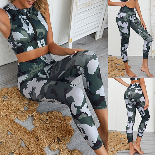 Yoga Set Women Sexy Camouflage Zipper Crop Tops + High Waist Pants