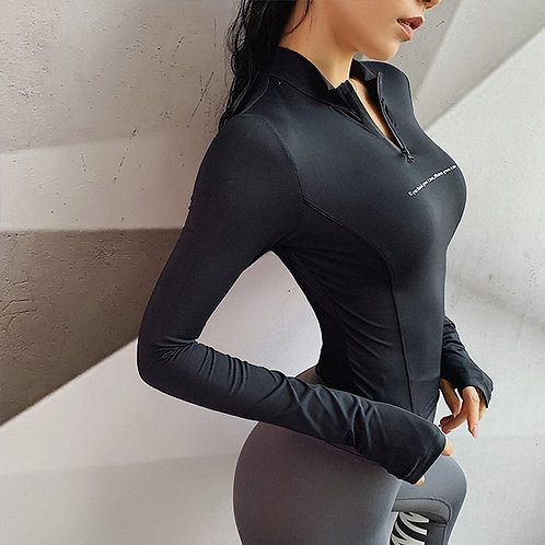 Yoga Jogging Zip Shirts Gym Long Sleeves Quick Dry Breathable