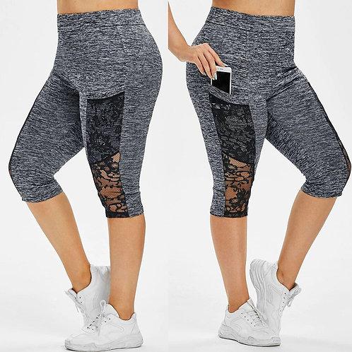 Women Shorts Plus Size Lace Patchwork Elastic Waist Pocket Casual