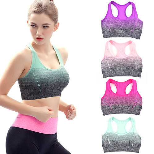 Gradient High Stretch Sports Bras,Women Quick Dry Padded Sports Top