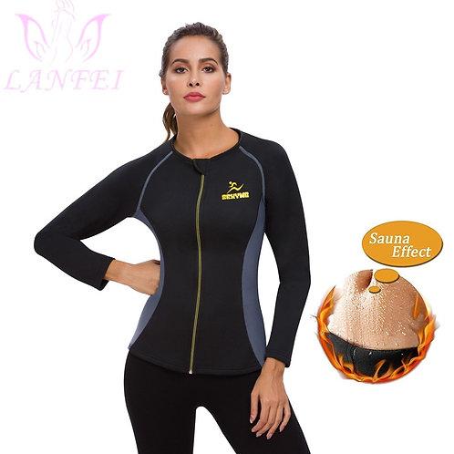 Women Neoprene Sauna Weight Loss Vest with Sleeves Gym Hot