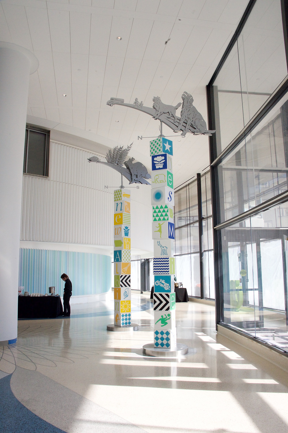 corian, color inlays in solid surface, iowa children's hospital, solid surface artwork