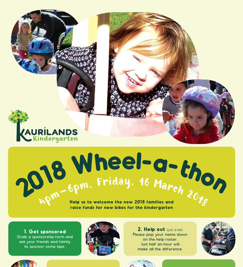 Kaurilands Kindy Wheel-a-thon-Poster 2018