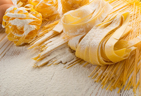 Raw yellow italian pasta pappardelle, fe