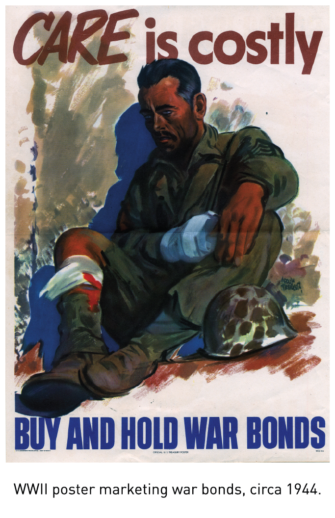 WWII poster marketing war bonds, circa 1944.