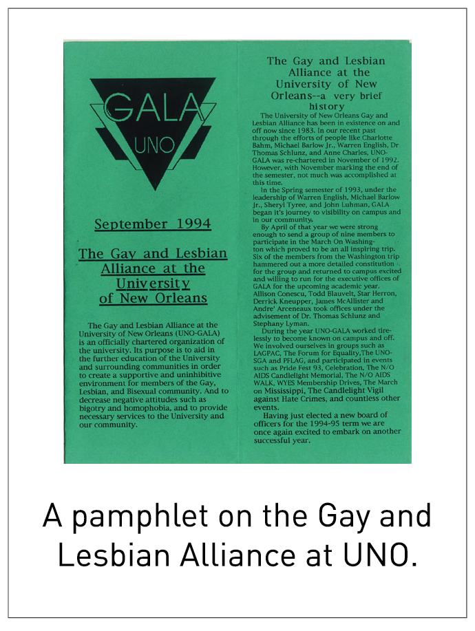 A pamphlet on the Gay and Lesbian Alliance at UNO.