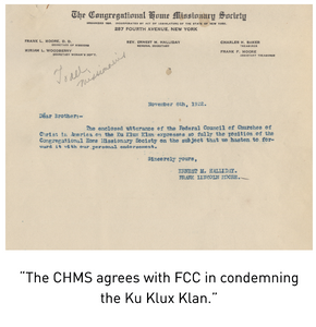 """The CHMS agrees with FCC in condemning the Ku Klux Klan."""