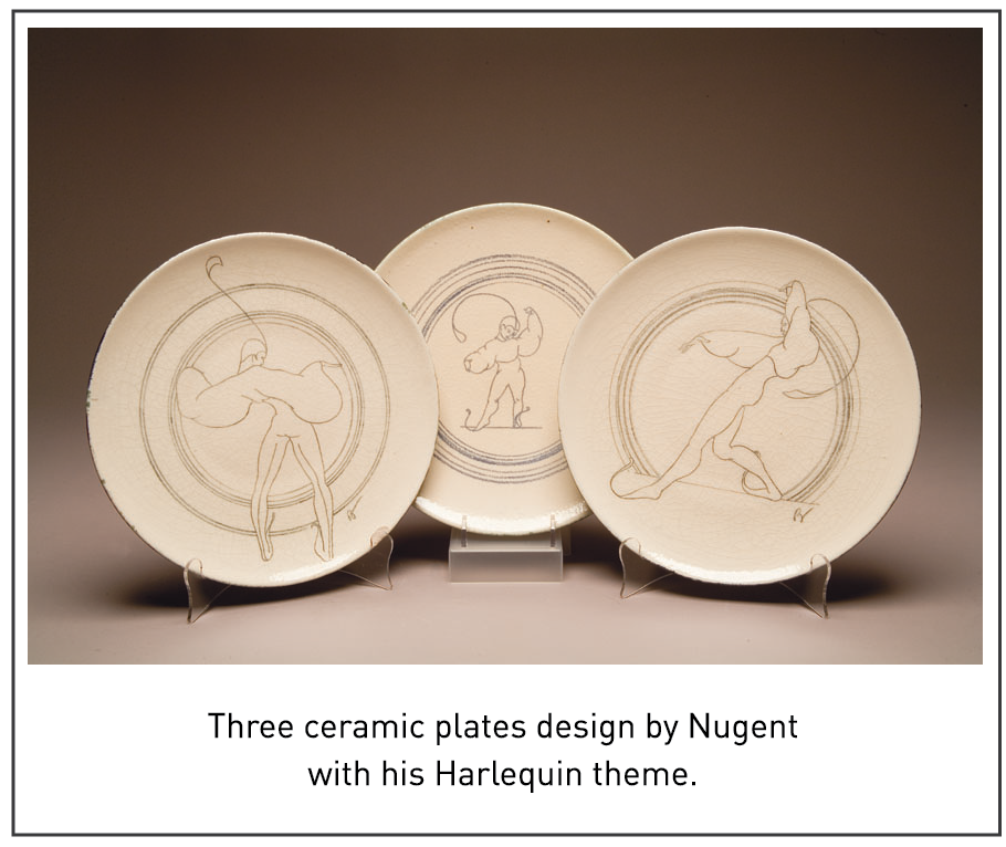 Three ceramic plates design by Nugent with his Harlequin theme.