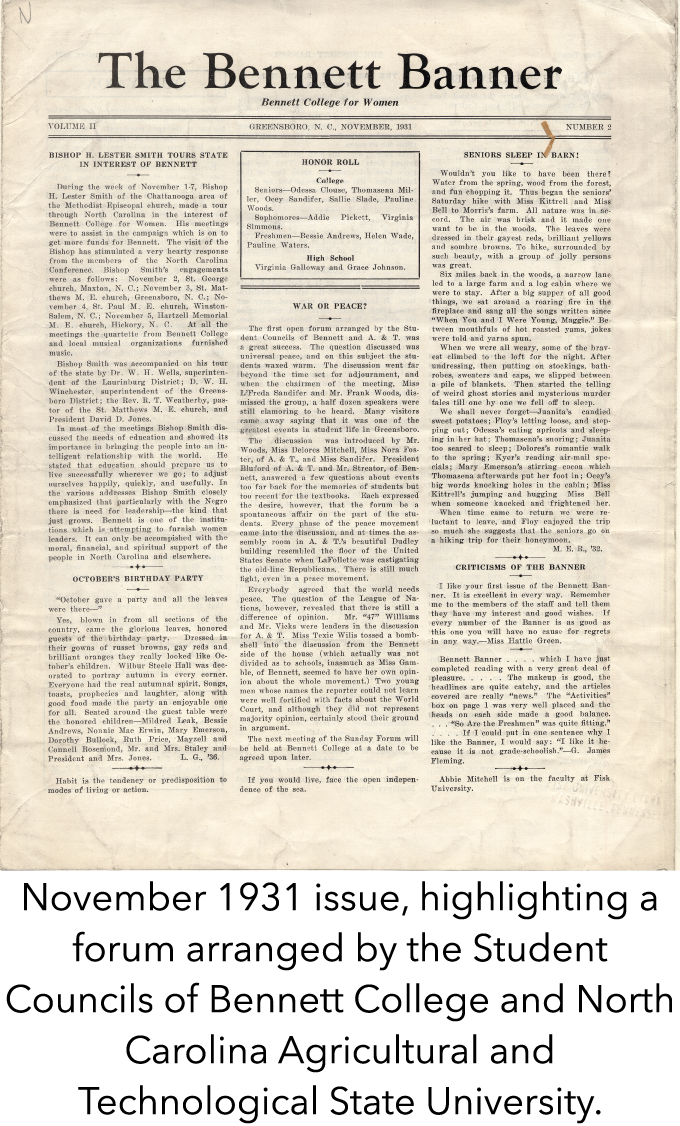 November 1931 issue, highlighting a forum arranged by the Student Councils of Bennett College and North Carolina Agricultural and Technological State University.