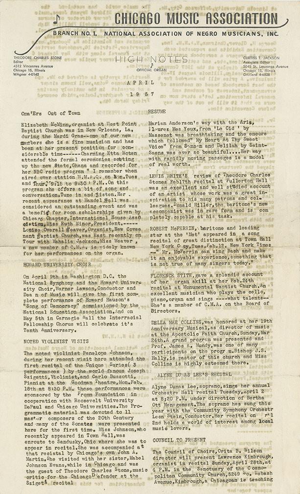 Newsletter: Chicago Music Association (April 1957)