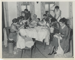 Bonita Valien n Nigeria organizing women sewing for hospital group Bonita organized in 1960