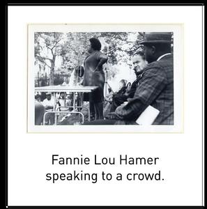 Fannie Lou Hamer speaking to a crowd.