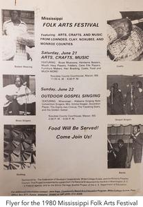 Flyer for the 1980 Mississippi Folk Arts Festival