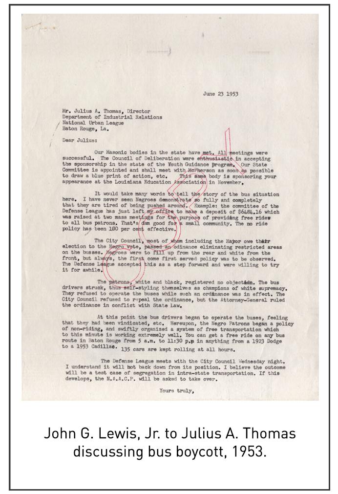 John G. Lewis, Jr. to Julius A. Thomas discussing bus boycott, 1953.