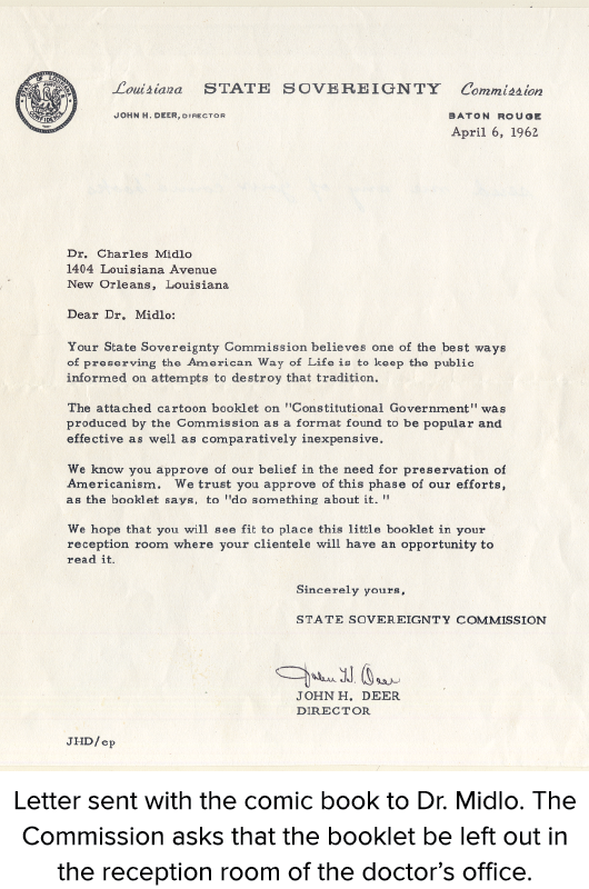 Letter sent with the comic book to Dr. Midlo. The Commission asks that the booklet be left out in the reception room of the doctor's office.