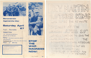 Flyer for demonstration against the Vietnam War sponsored by Fifth Avenue Vietnam Peace Parade Committee with dedication to Martin Luther King Jr on the reverse