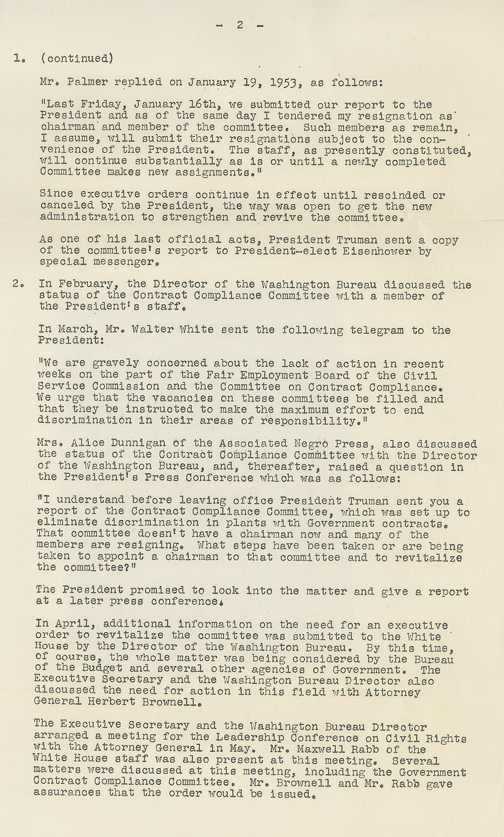NAACP letter detailing the call for action against discrimination by government contractors