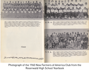 Photograph of the 1960 New Farmers of America Club from the Rosenwald High School Yearbook