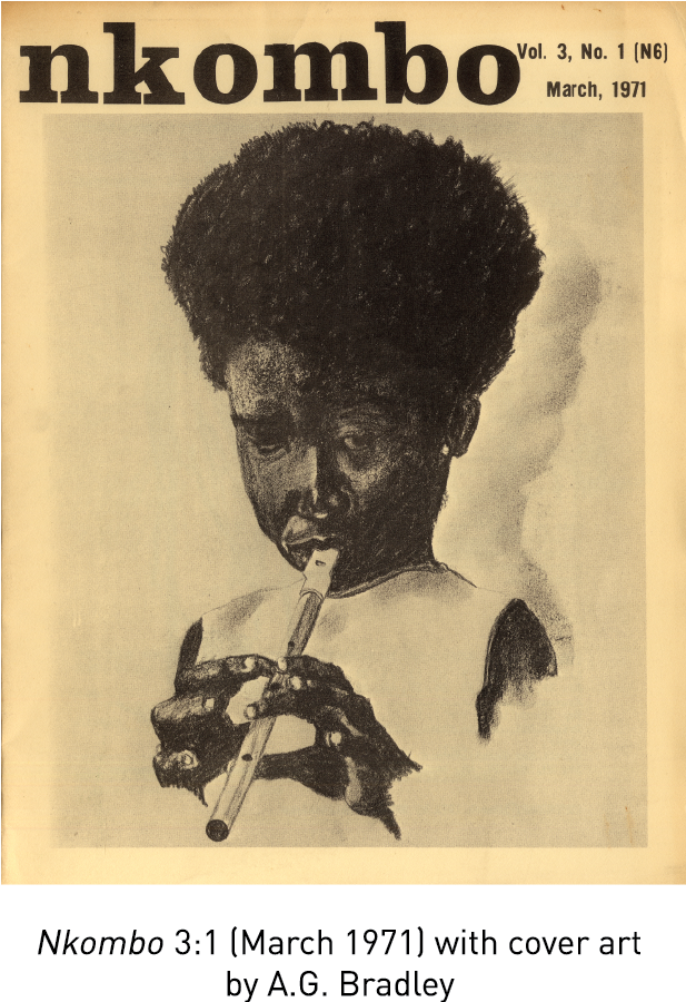 Nkombo 3:1 (March 1971) with cover art by A.G. Bradley