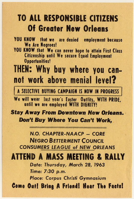 "Flyer - ""to all responsible citizens of Greater New Orleans"", 1963."