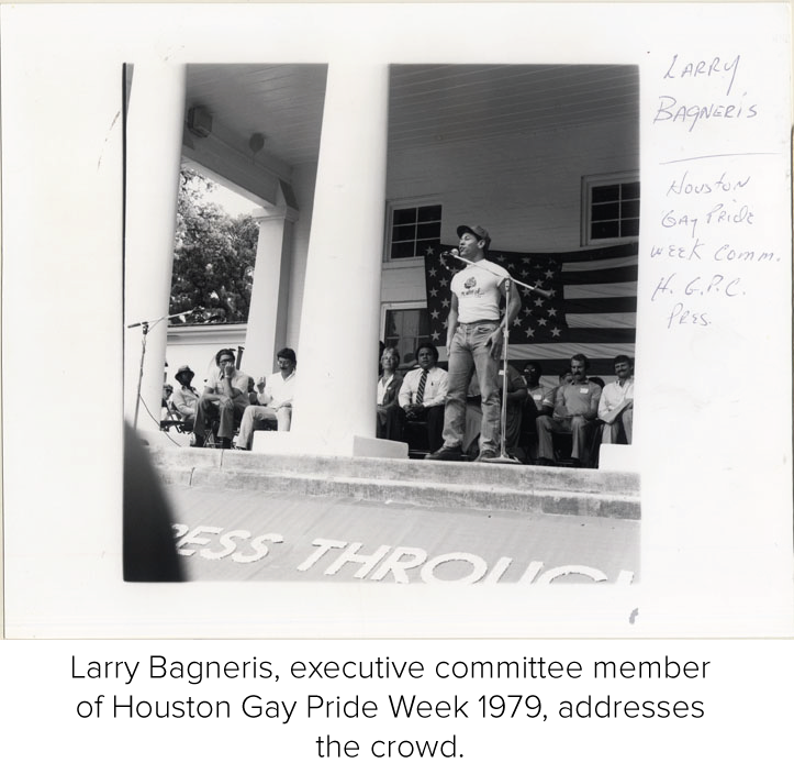 Larry Bagneris, executive committee member of Houston Gay Pride Week 1979, addresses the crowd.