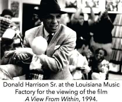 Donald Harrison Sr. at the Louisiana Music Factory for the viewing of the film A View From Within, 1994.