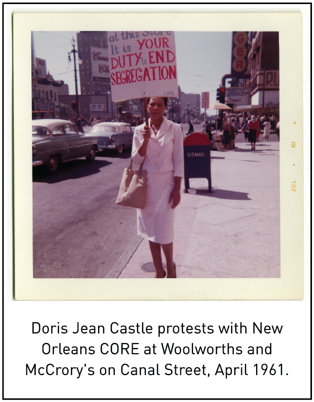 Doris Jean Castle protests with New Orleans CORE at Woolworths and McCrory's on Canal Street, April 1961.