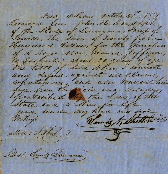 Slave Bill of Sale, Louisiana, 1857.