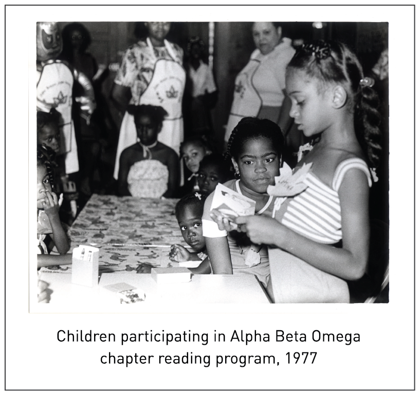 Children participating in Alpha Beta Omega chapter reading program, 1977