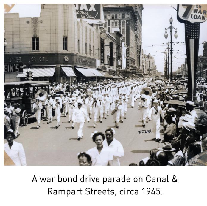 A war bond drive parade on Canal & Rampart Streets, circa 1945.