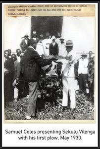 Samuel Coles presenting Sekulu Vilenga with his first plow, May 1930.