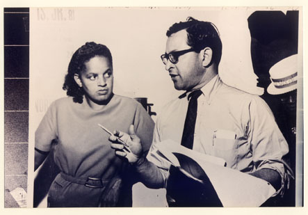 Ernest Morial discussing strategy with Dorothy Mae Taylor, 1967